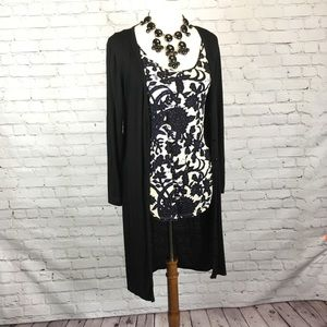 Tops - Black button up long duster